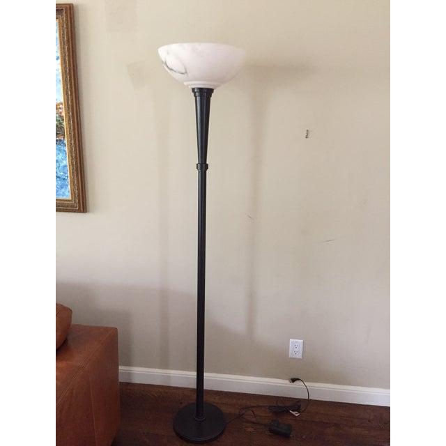 restoration hardware alabaster floor lamp chairish. Black Bedroom Furniture Sets. Home Design Ideas
