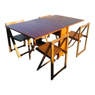 Vtg Mid Century Danish Modern Teak Dining Table & Four Chairs
