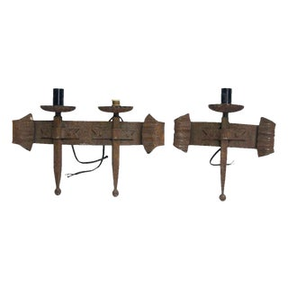 Rustic Wrought Iron Sconces - A Pair