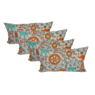 Boho Elephant Lumbar Outdoor Pillows - Set of 4