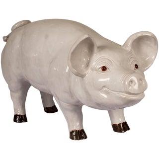 Glazed Terra Cotta Sculpture of a Happy Pig