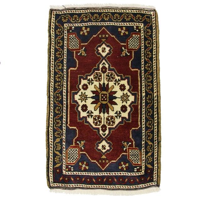 """Vintage Navy & Red Kurdish Carpet - 2' x 3'2"""" - Image 1 of 2"""