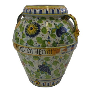 Italian Majolica Fruit Painted Urn
