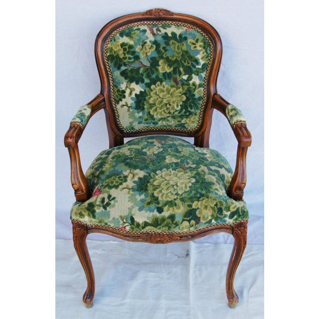 Scalamandre Marly Velvet Tapestry Fabric Walnut Armchair - Image 7 of 11