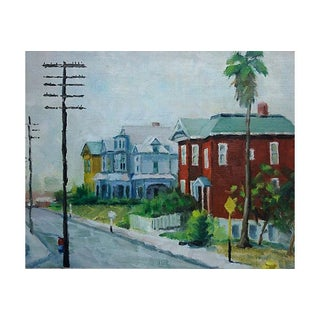 Painting of a Street Scene with Victorian Houses
