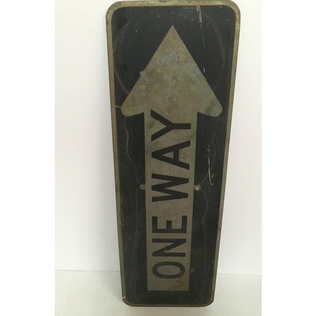Vintage 'One Way' Arrow Road Sign - Image 5 of 5