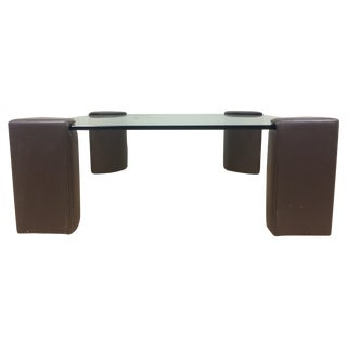 Brayton Purple Leather & Glass Coffee Table