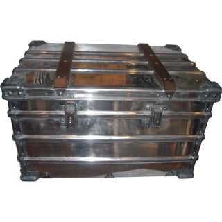 Old Polished Metal Industrial Trunk