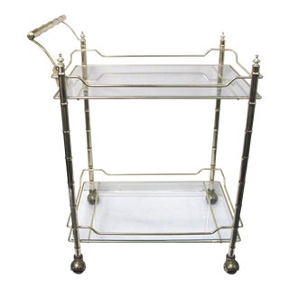 Mid-Century Faux Bamboo Smoked Glass Bar Cart