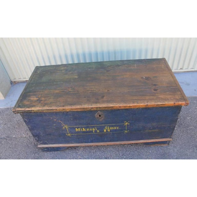 19th Century Original, Blue Painted Blanket Chest - Image 6 of 10