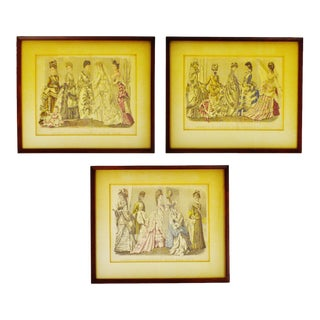 Antique Victorian Fashion 1870's Godey's Fashion Prints - Set of 3