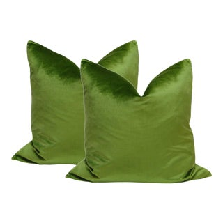 "22"" Peridot Green Italian Silk Velvet Pillows - A Pair"