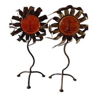 Metal and Glass Sunshine Candle Holders - Pair