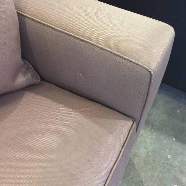 Custom Mauve Linen Designer Sofa with Pillows - Image 5 of 11