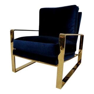 Berhardt Velvet Gold Chrome Chair