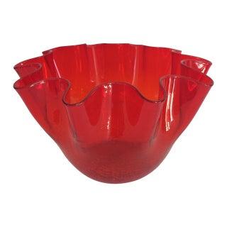 Vintage Red Blenko Crackle Glass Vase