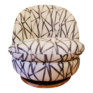 Thayer Coggin Gold Base Swivel Chair