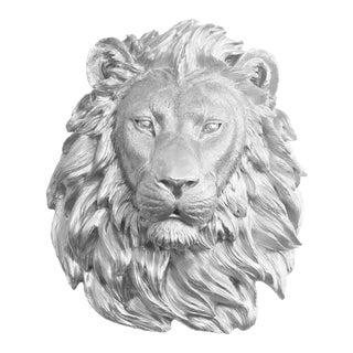 Silver Faux Lion Head Wall Bust
