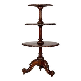 19th Century Three-Tier Mahogany Carved Dumbwaiter