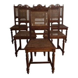 Wooden Cane Dining Chairs - Set of 6