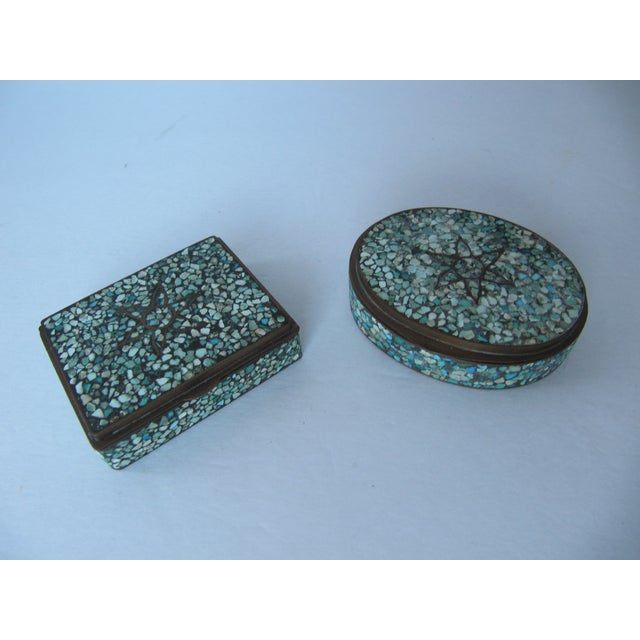Turquoise Eggshell & Brass Mosaic Boxes - A Pair - Image 3 of 4