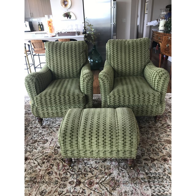 Upholstered Lounge Chairs & Ottoman - Set of 3 - Image 2 of 5