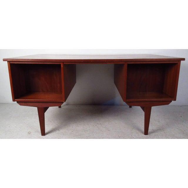 Double-Sided Scandinavian Modern Teak Desk - Image 4 of 9
