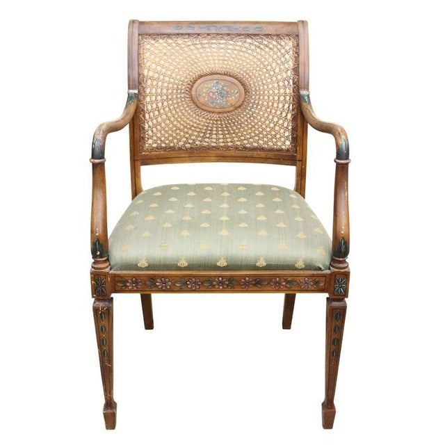 Hand Painted Cane Back Arm Chair Chairish