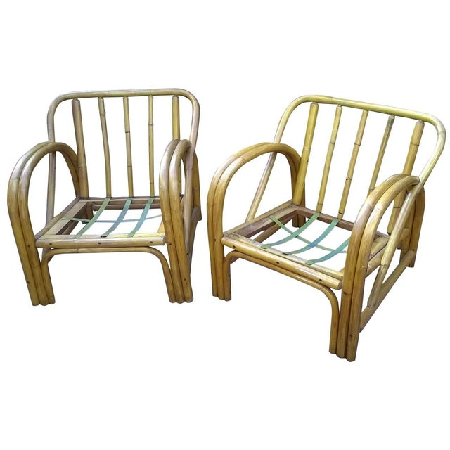 Vintage Bamboo Bentwood Rattan Chairs - A Pair - Image 1 of 10