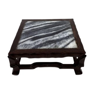 Vintage Chinese Hardwood & Marble Display Stand
