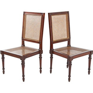 Italian Fruitwood Louis XVI Side Chairs - A Pair