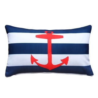 Red Anchor Nautical 12x20 Pillow