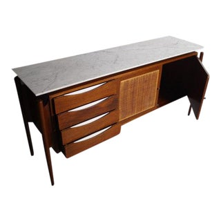 Marble Top Floating Credenza With Cane Front
