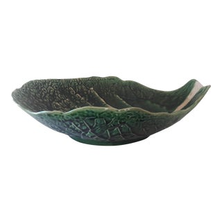 Vintage Portuguese Majolica Cabbage Leaf Serving Bowl