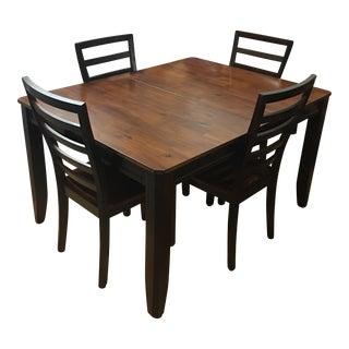 Two Toned Wood Dining Table & Four Chairs