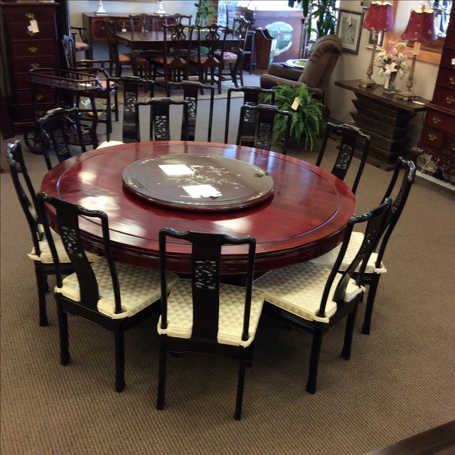 """72"""" Rosewood Table With Lazy Susan Dining Set - Image 9 of 9"""