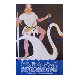 Original German Art Deco Carnival Poster, Man on a Swan