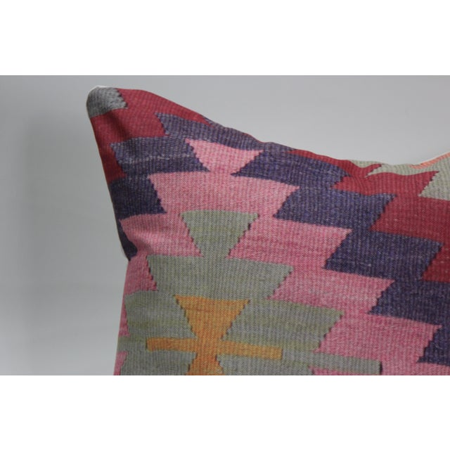 Diamond Pattern Kilim Inspired Print Pillow - 18'' - Image 5 of 8