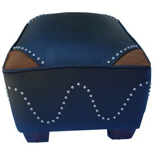 Western Style Leather Cowboy Foot Stool