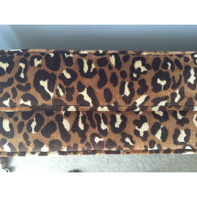 Leopard Upholstered Bench on Brass Casters - Image 5 of 8