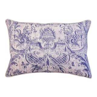 "26"" X 18"" Custom Lavender & White Italian Fortuny Mazzarino & Velvet Feather/Down Pillow"