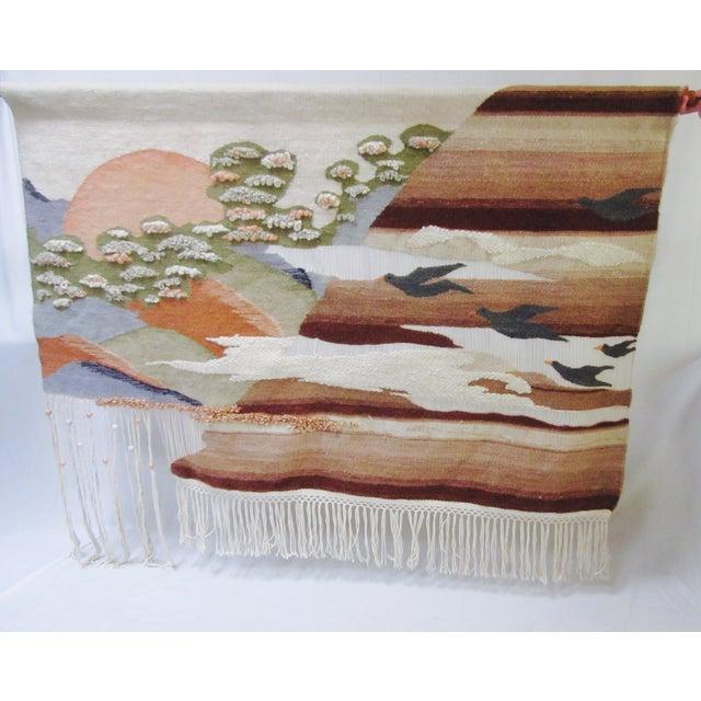 Image of Mid-Century Fiber Art Wall Hanging Textile