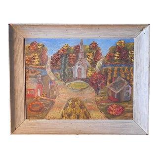 Vintage Signed Folk Art Oil On Board-Village Scene-US Artist C. Harris-Framed