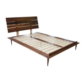 Handmade Solid Walnut Mid-Century Platform Bed