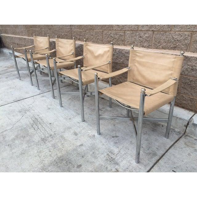 Hollywood Regency Chrome & Vinyl Chairs - Set of 4 - Image 2 of 3