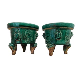 Asian Celadon Ceramic Incense Burners- A Pair