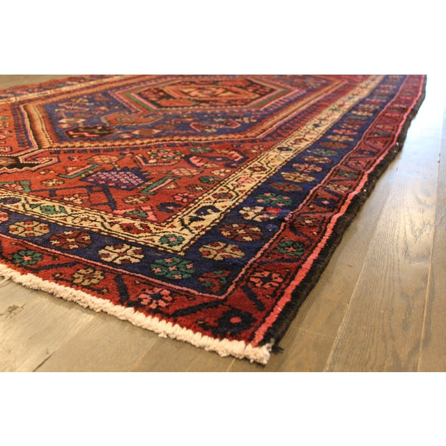 """Vintage Red & Blue Persian Rug - 4'11"""" x 7'10"""" - Image 3 of 4"""