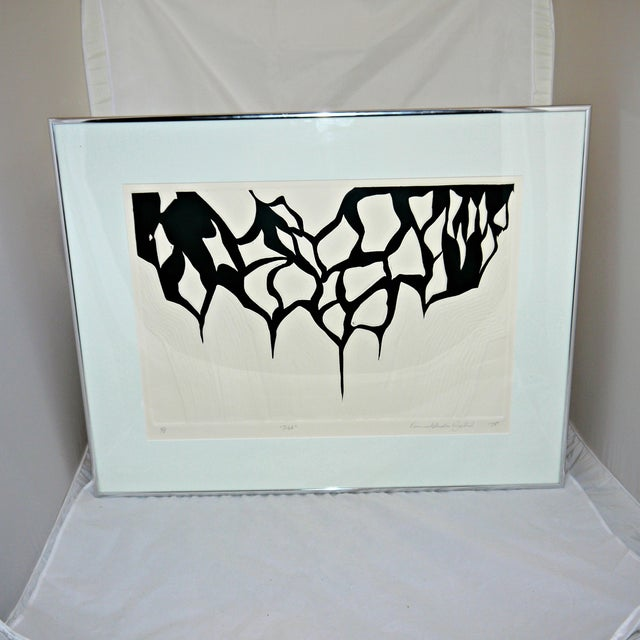 Black and White Abstract Relief Art on Paper - Image 8 of 9