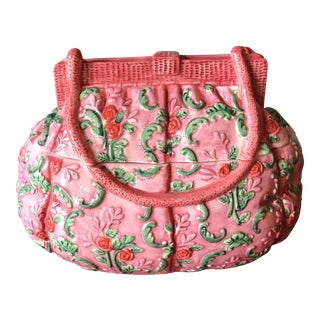 Vintage Pink Ceramic Purse Box