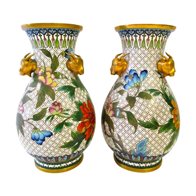 Chinese Colorful Cloisonne Vases - A Pair - Image 1 of 7